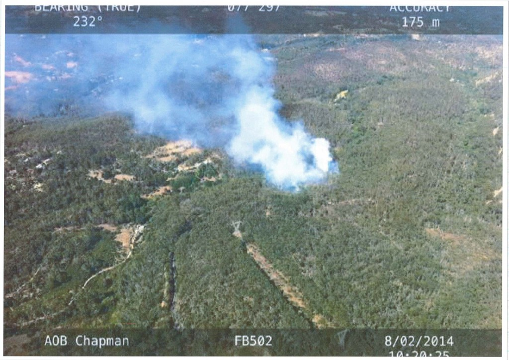 Photograph of the 8/2/14 fire in Belair National Park taken by a CFS helicopter.