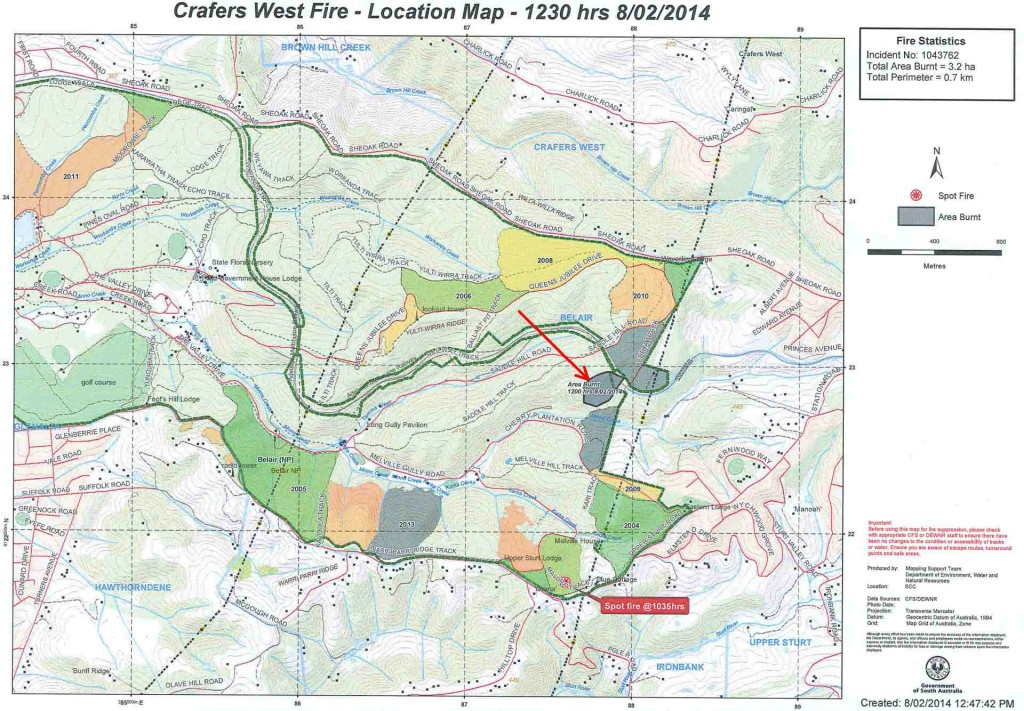 A map showing fire area in Belair National Park. A red arrow points the the area burnt 8/2/14.