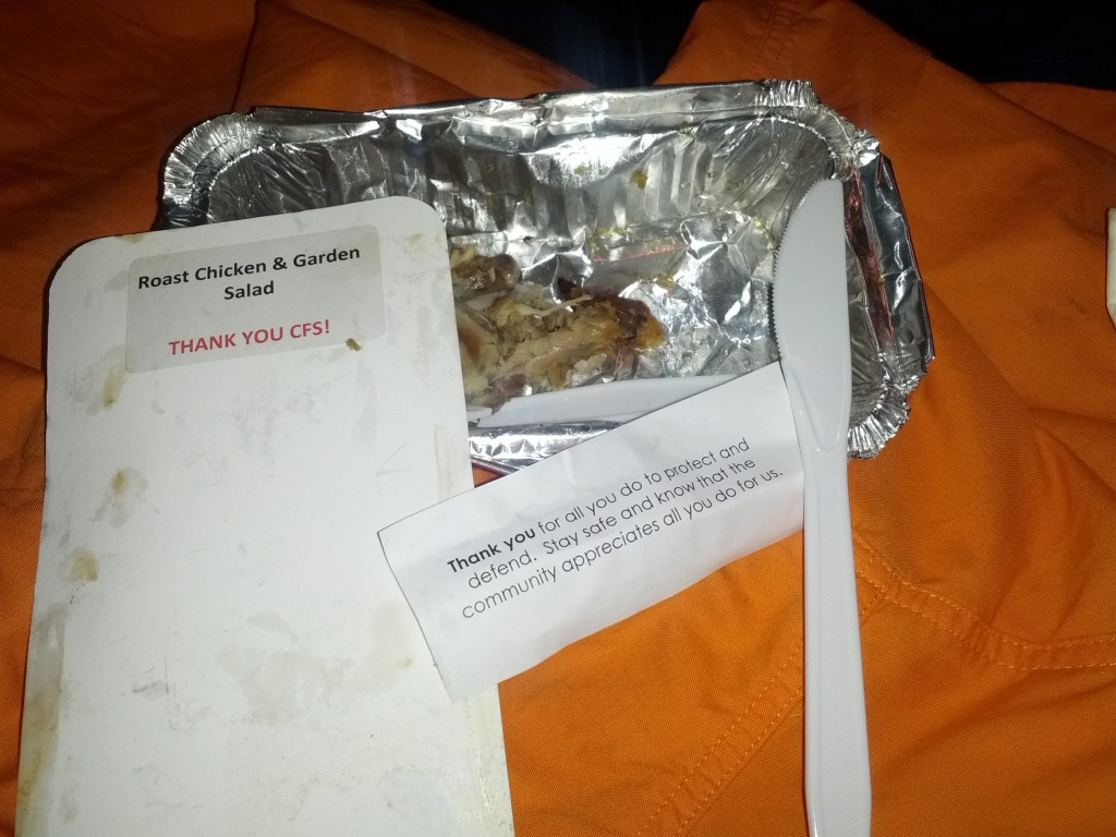 A meal with note donated by a member of the public