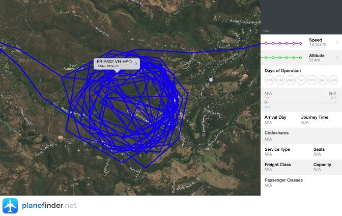 A track of Fire bird 502 circling the fire in Belair National Part. The helicopter is used by the CFS to direct both ground are aerial resources.